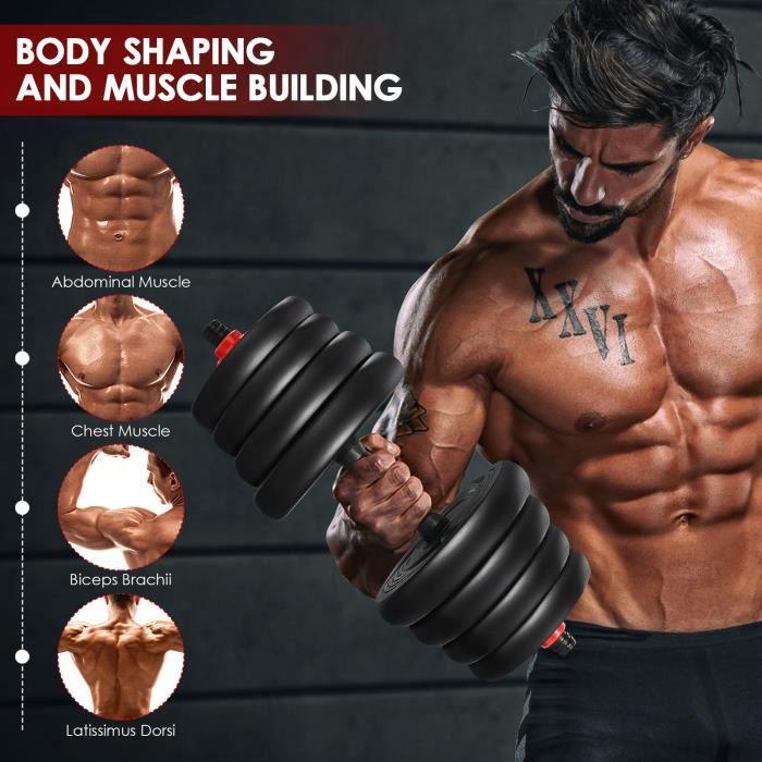 Kit haltères 30kg musculation réglables-Noir