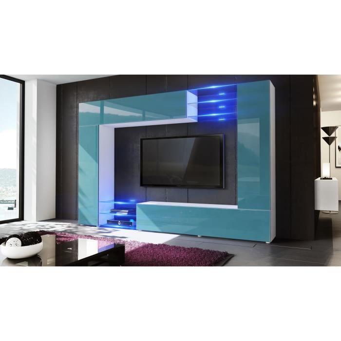 Meuble tv murale blanc et bleu pétrole 260 cm avec LED