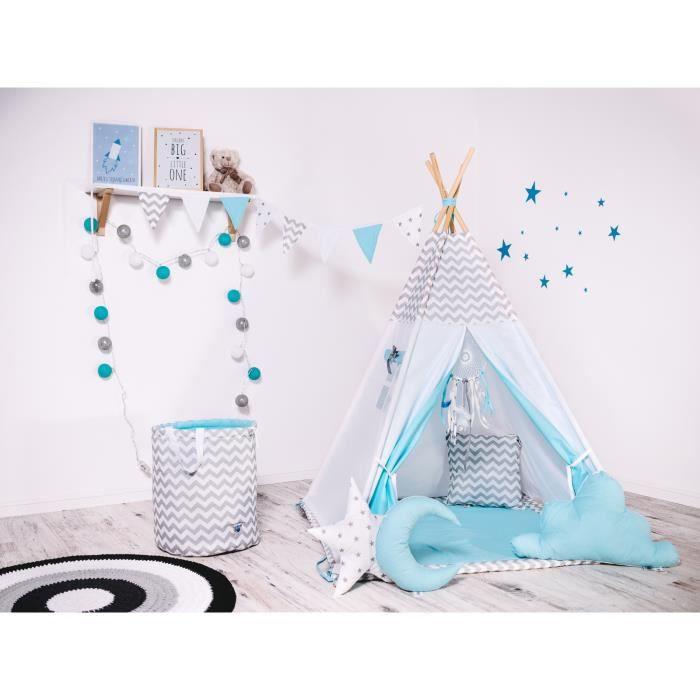WILLY - Tente de jeu Tipi pour less fille/garçon - Hauteur 160 cm - Intérieur/extérieur - 8 poteaux + Parois avec fenêtre - Blanc