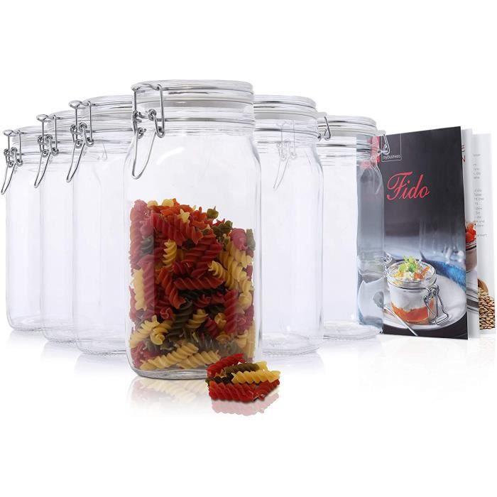 BOCAUX DE CONSERVATION Bormioli Fido Lot de 6 bocaux agrave fermeture meacutecanique avec livret de recettes Bormioli 15 l422