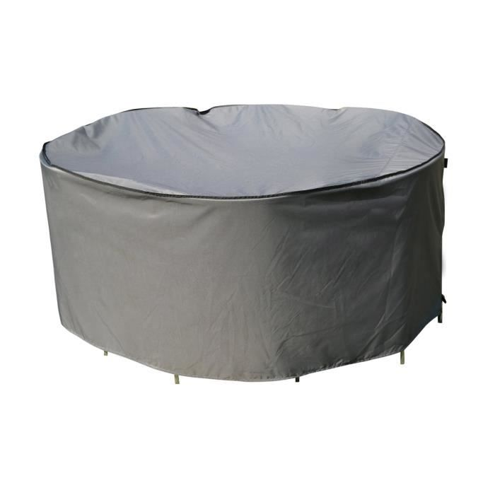 Housse de protection Table Ronde - 178 x 90 cm - Gris - SORARA
