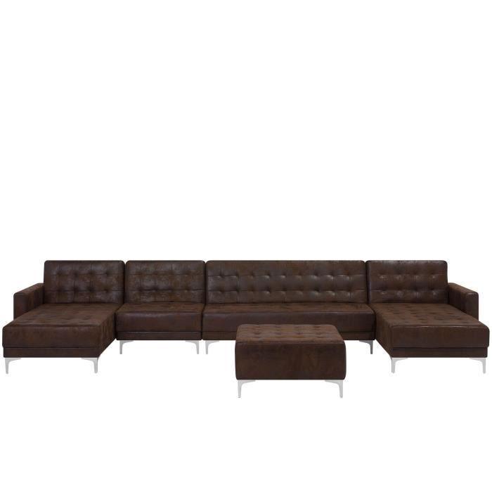 Canapé 6 places modulable en U en simili cuir avec pouf marron ABERDEEN