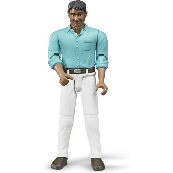 Personnage avec pantalon blanc et chemise bleu Ech:1/16 - BRU60003