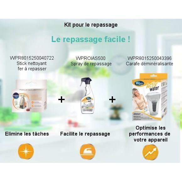 Pack Kit Repassage facile - Carafe déminéralisante + Spray de repassage + Stick nettoyants fer à repasser