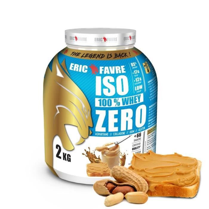 ISO WHEY ZERO 100% Pure Whey Protéine Isolate (Peanut Butter) - Prise de Masse - 2kg - Laboratoire Français Eric Favre