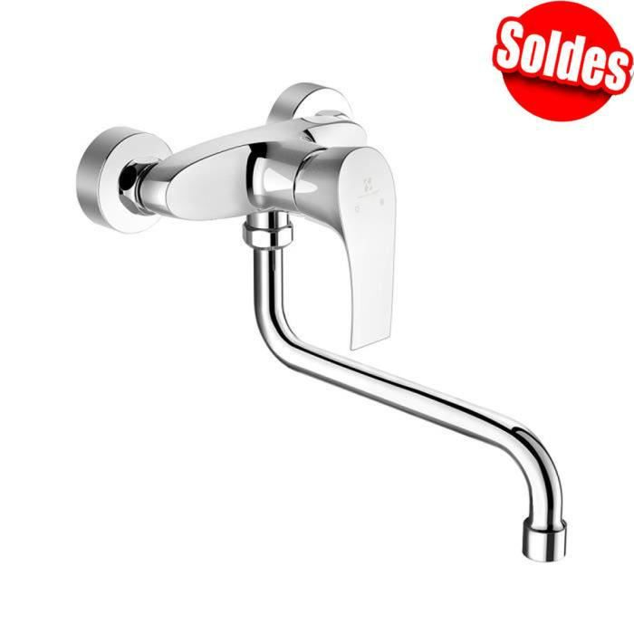 Robinet mitigeur moderne monocommande en laiton pour lavabo de salle de bain Montage mural Valve en c/éramique Argent/é