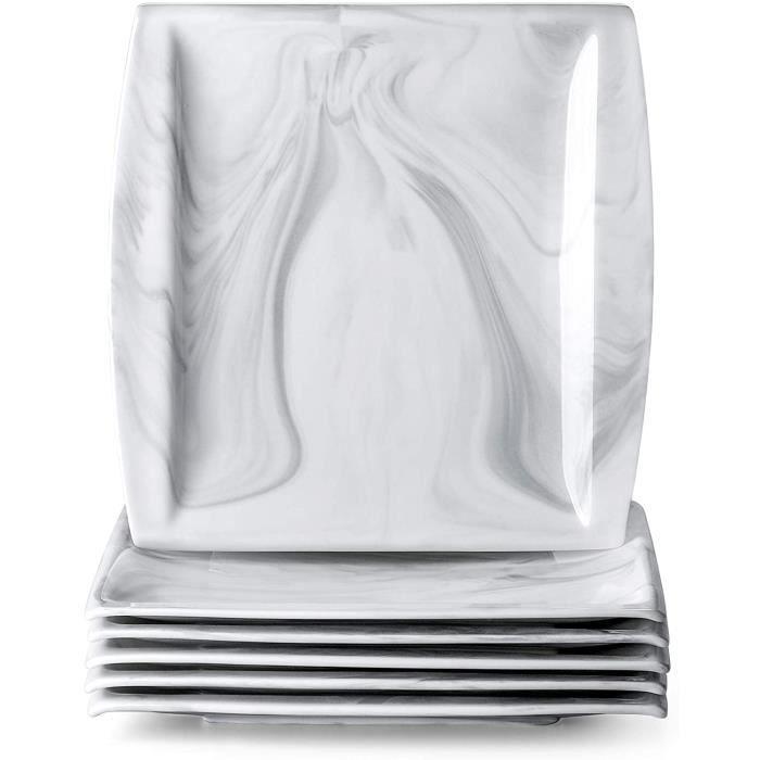 MALACASA, Série Blance, 6pcs Assiettes en Porcelaine,Motif en Marbre, Assiette à Dinner, Grise, Assiettes Plates pour 6 Personnes