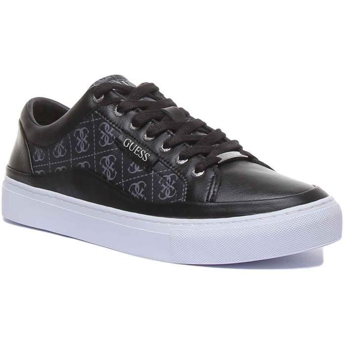Guess Larry Baskets synthétiques à lacets avec logo 4G pour hommes en noir et gris
