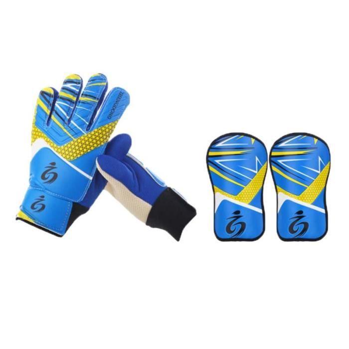 2-en-1 enfants kit d'équipement de protection de gardien de but ensemble simple gant veau équipement de CHAUSSURES DE FOOTBALL