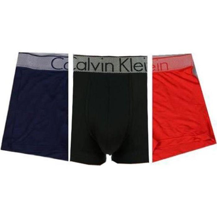 CALVIN KLEIN Homme Coton Pack de 3 Boxers Noir Rouge Bleu marine