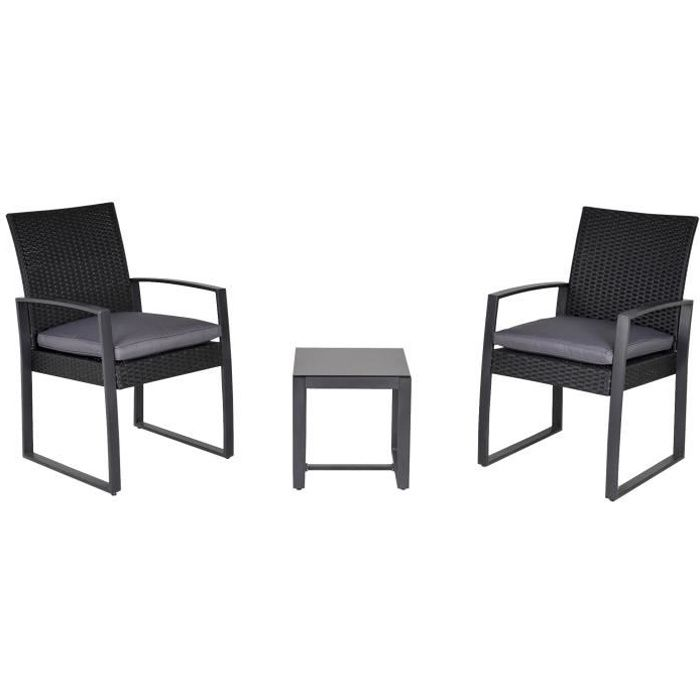 Salon de jardin 2 places - 3 pièces 2 chaises avec coussins gris + table basse - résine tressée 4 fils imitation rotin noir
