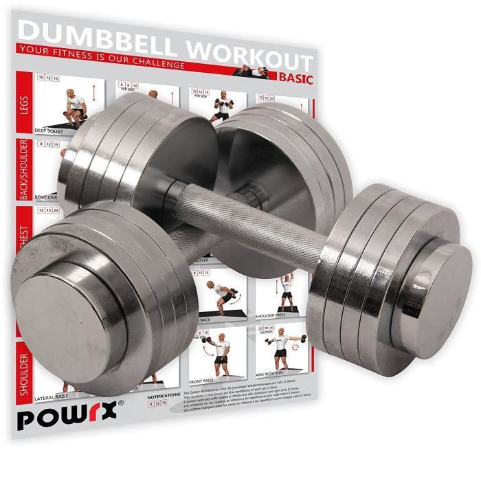 Haltère set chrome avec haltères chrome I Workout I réglables I 2 x 5 kg ou 2 x 10 kg