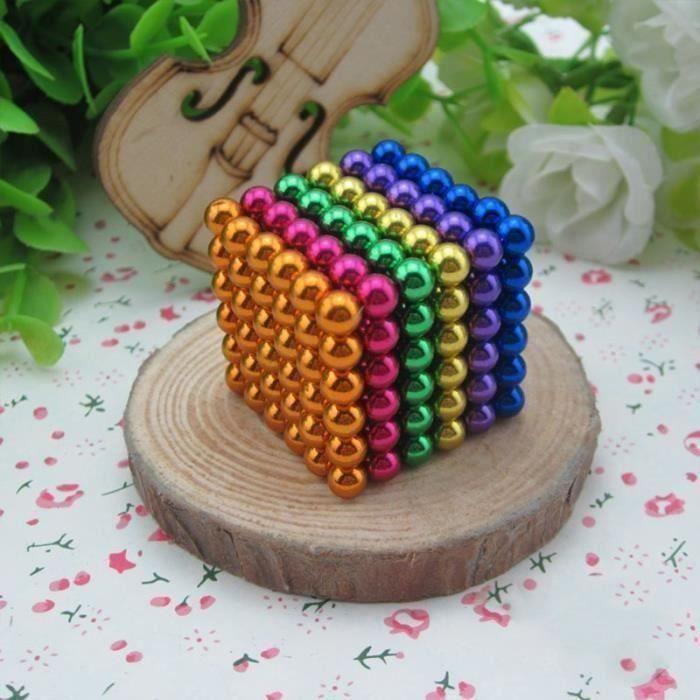 HK17523-Cube magnétique magique Buckyballs 216 billes 5mm 6 couleurs L15401