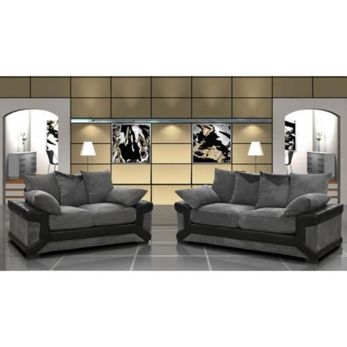 ensemble canap 3 2 places gris et noir confortable achat vente canap sofa divan. Black Bedroom Furniture Sets. Home Design Ideas