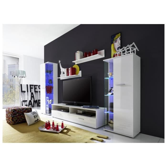 Meuble tv mural blanc brillant led polo 4 achat for Meuble mural occasion