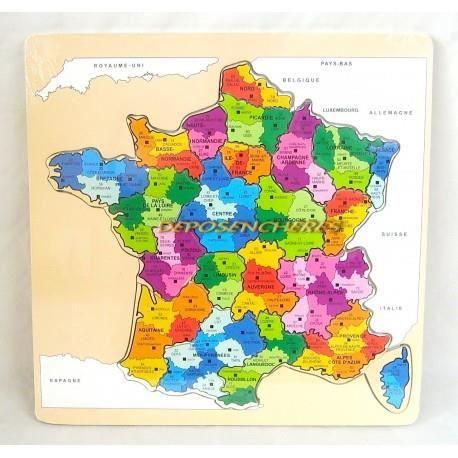 PUZZLE Puzzle en bois carte des régions de France 29x29cm
