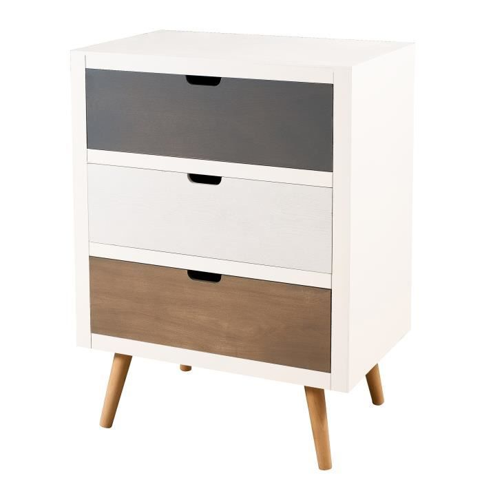 Commode scandinave pin blanc 3 tiroirs assortis moncornerdeco - Meuble type scandinave ...