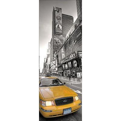 Sticker de porte d co trompe l oeil new york taxi r f 569 for Decoration porte new york