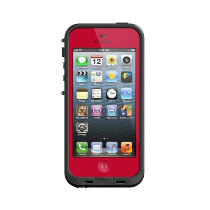 coque tanche waterproof pour iphone 5 rouge achat. Black Bedroom Furniture Sets. Home Design Ideas
