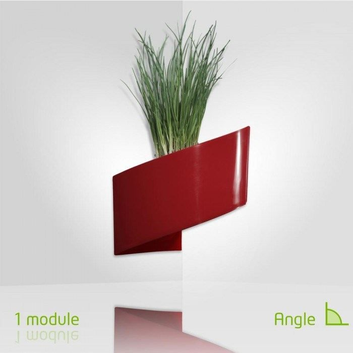 Modul 39 green pot pour plantes mural design int rieur ext rieur rouge achat vente for Pot de plante design