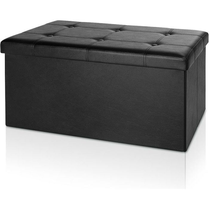 banc pliable coffre avec rangement 80x40x40cm noir achat. Black Bedroom Furniture Sets. Home Design Ideas