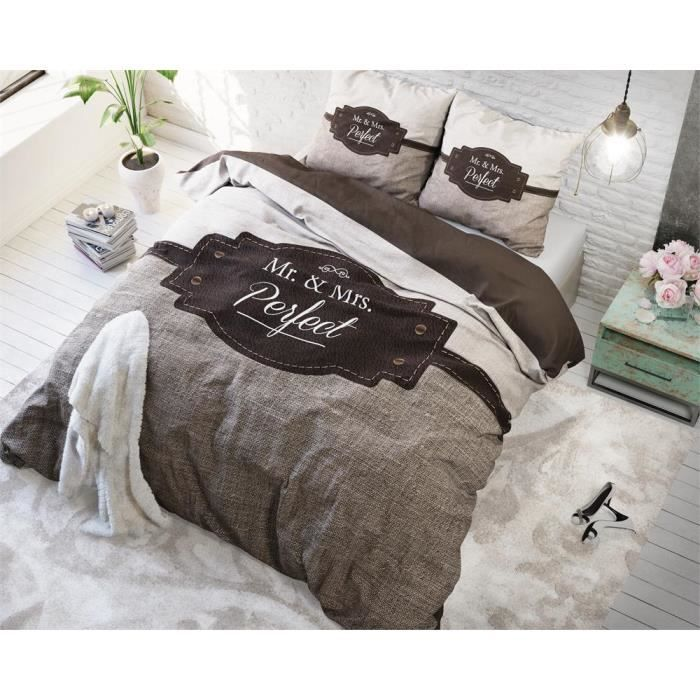 housse de couette mr mrs perfect achat vente housse de couette cdiscount. Black Bedroom Furniture Sets. Home Design Ideas