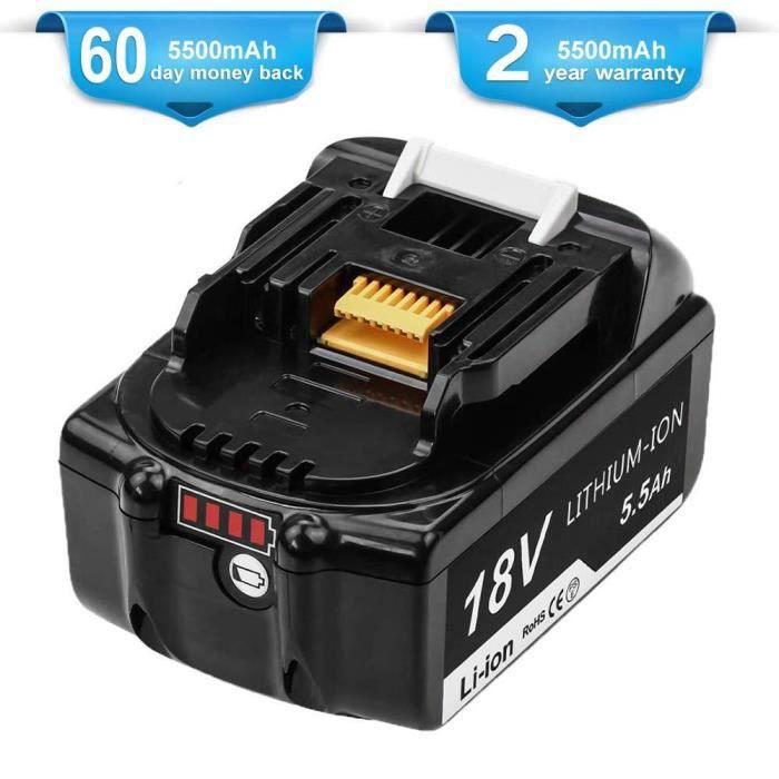 Topbatt BL1850B pour Makita 18V Batterie 5.0Ah de rechange BL1850B BL1850 BL1860 BL1860B BL1840 BL1830 BL1835 BL1845 BL1815 LXT-400