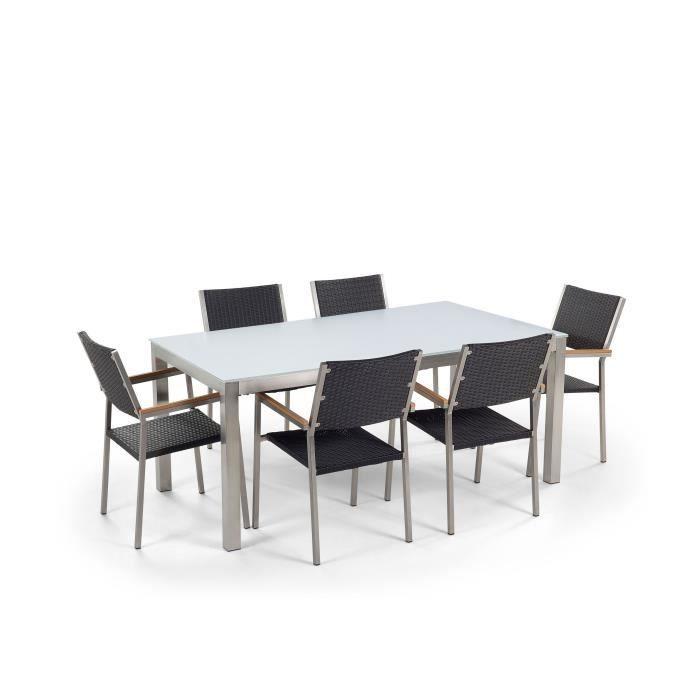 Ensemble de jardin table en verre blanche et 6 chaises en ...