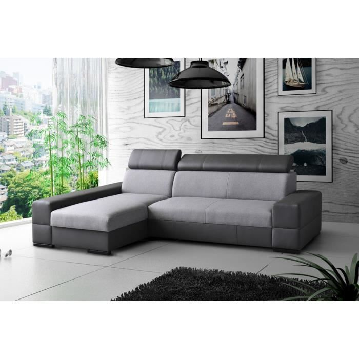 canap angle capri cuir pu microfibre gris noir achat vente canap sofa divan cdiscount. Black Bedroom Furniture Sets. Home Design Ideas