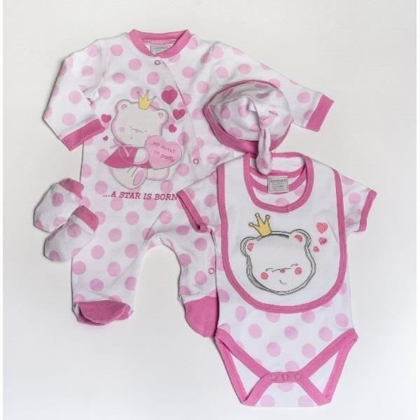 ensemble cadeau de naissance b b fille pyjama body bonnet bavoir moufles rose achat vente. Black Bedroom Furniture Sets. Home Design Ideas