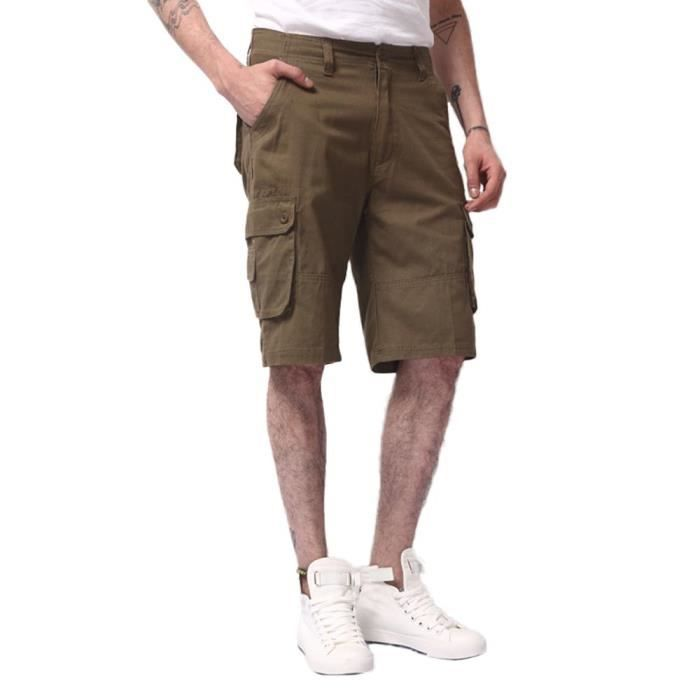 Multi Casual poches Couleur Cargo Bermuda Unie Militaire Grande Taille Short Homme fZqxwYHE