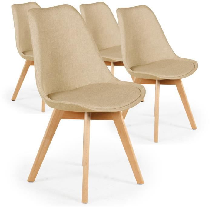 lot de 4 chaises scandinaves conor tissu beige achat. Black Bedroom Furniture Sets. Home Design Ideas