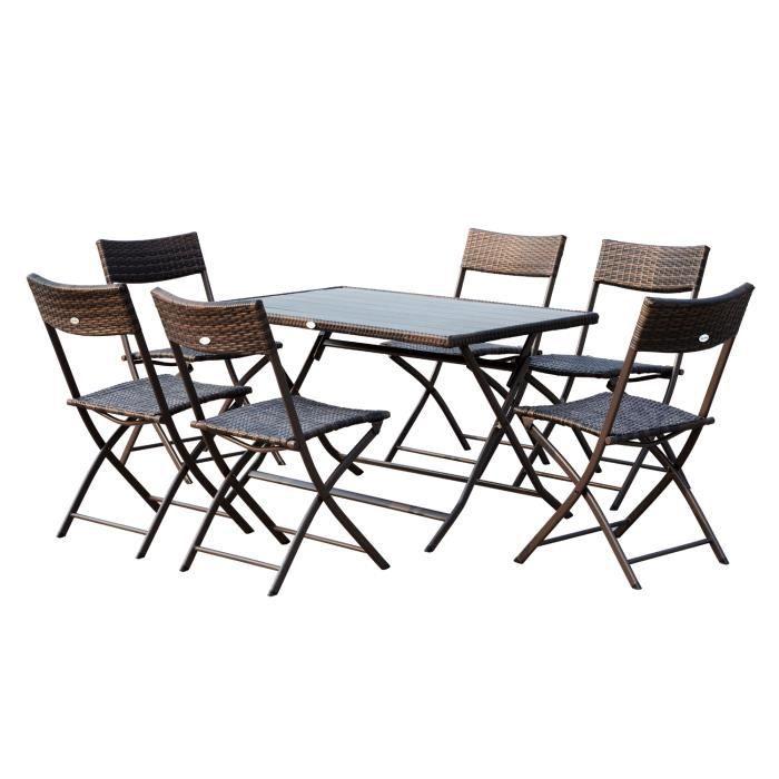 Ensemble salon de jardin 6 personnes grande table rectangulaire pliable + 6  chaises pliantes métal résine tressée PC chocolat 32