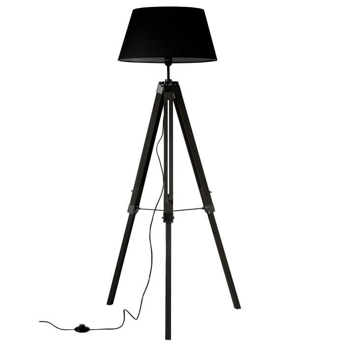 lampadaire trepied marine noir achat vente lampadaire trepied marine noir bois tissu m tal. Black Bedroom Furniture Sets. Home Design Ideas