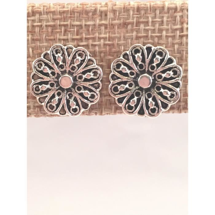Womens Pewter Flower Post Earrings POKOI