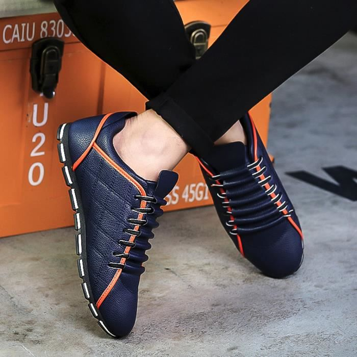 chaussures Bleu style Sneakers confortable hommes cuir mode plates YLK71208591BU Napoulen®New nRxWA8n