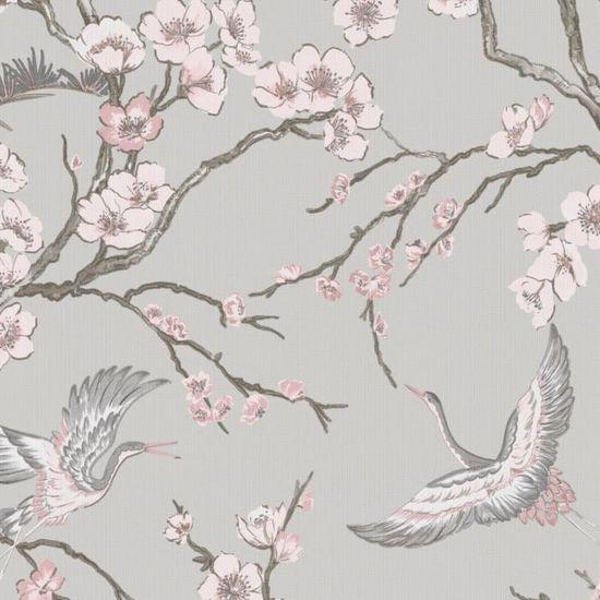 Papier Peint Intisse Oiseaux Japonais Gris Rose 10m X 52cm Wow Achat Vente Papier Peint Papier Peint Intisse Oiseaux Cdiscount