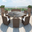 Salon de jardin marron en polyrotin table ronde et chaises 12 pers ...