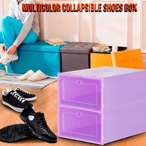 BOITE DE RANGEMENT 2PC Pliable Effacer Chaussures Boîte de rangement