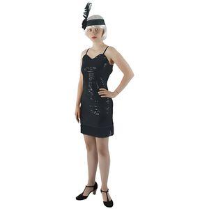 DÉGUISEMENT - PANOPLIE Déguisement Charleston femme robe noir franges