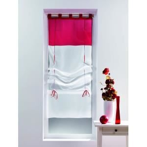 double rideau rouge et blanc achat vente double rideau rouge et blanc pas cher cdiscount. Black Bedroom Furniture Sets. Home Design Ideas