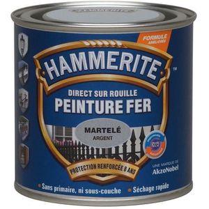 PEINTURE - VERNIS Hammerite fer martelé 0.25l gris argent 070703