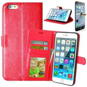 COQUE - BUMPER Coque iPhone 6/6S Rabat Portefeuille Rouge + Verre