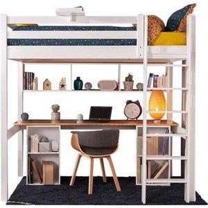 LIT MEZZANINE Lit mezzanine avec bureau Orphée  Blanc et bois 90