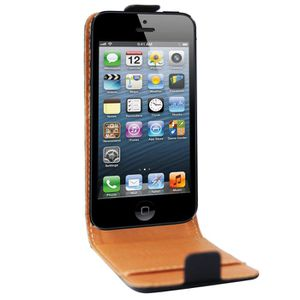 HOUSSE-COQUE TELEPHONE SWISSCHARGER Etui Cuir Noir iPhone 5