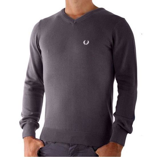 Pull FRED PERRY pas cher homme col V anthracite