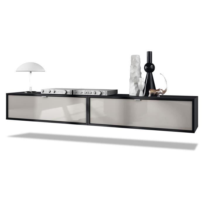 Ensemble de 2 set meuble TV Lana 100 murale lowboard 100 x 29 x 37 cm, caisson en noir, façades en Gris sable haute brillance