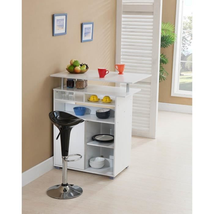 desserte de bar 100cm blanc achat vente desserte. Black Bedroom Furniture Sets. Home Design Ideas