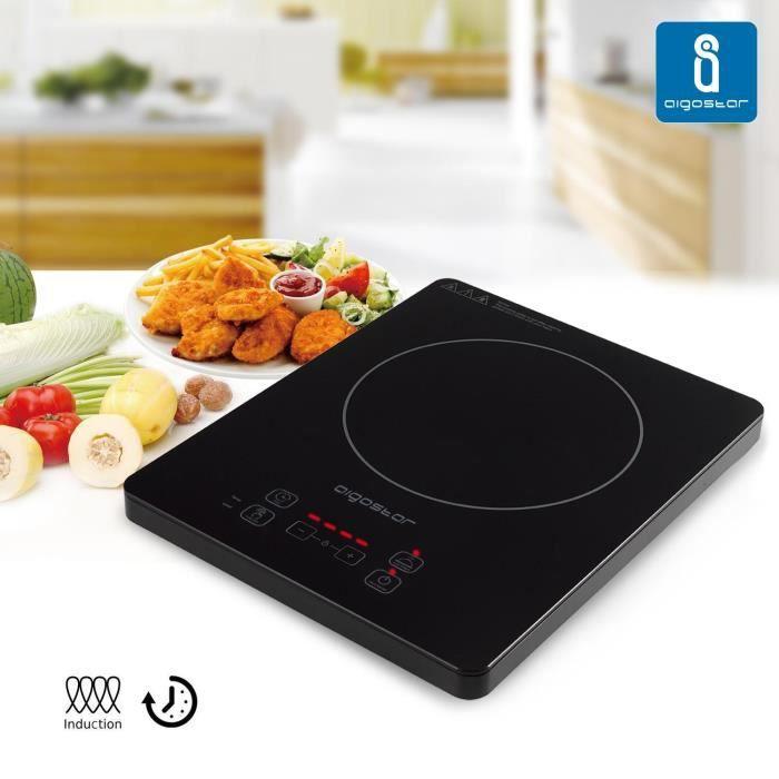 Aigostar Blackfire 30IAV – Plaque à induction portable, 2000W. Tactile, programmable, 10 puissances. Design exclusif.