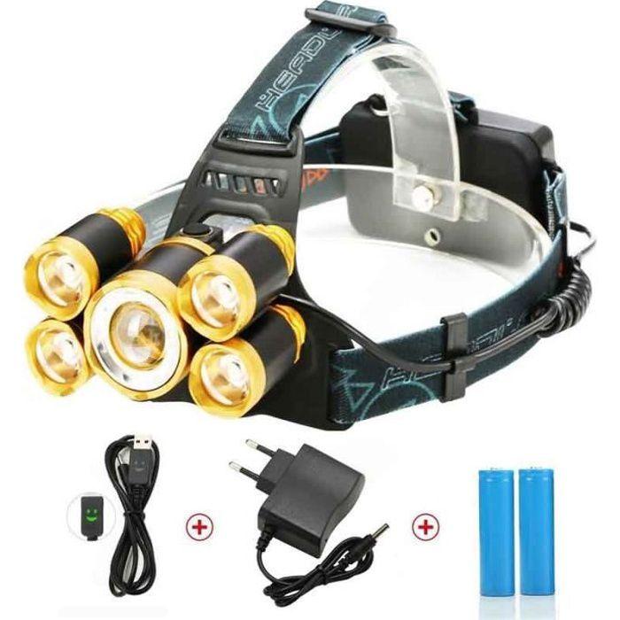 Lampe Frontale Puissante avec 5 LED de 8000 lumens, SGODDE Lampe Torche LED Zoomable et Étanche avec 2 x 18650mAh Batterie